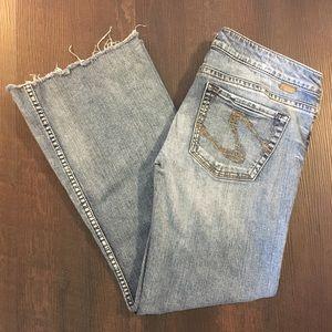 Raw Hem Silver Jeans Size 32/28.5